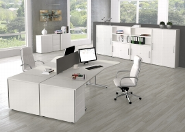 Kerkmann 4349 Freiform Schreibtisch start up C-Fuß (BxT) 195x80/100cm Grafit