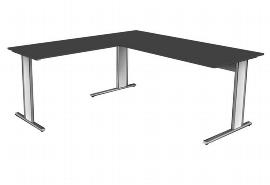 Schreibtisch 4359 AVETO Edelstahl C-Fuß mit Anbau 100 (BxTxH) 180 x 80 x 75cm Weiß