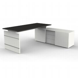 Kerkmann 4460 Komplettarbeitsplatz Form 4 mit Wangengestell Auflage-Schreibtisch und Sideboard Weiß