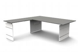 Kerkmann 4661 Schreibtisch Form 4 Wangengestell mit Anbau 120 (BxTxH) 200x100x68-76cm Grafit
