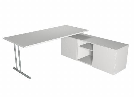 Schreibtisch start up Winkeltisch C-Fuß Gestell 200 x 100 Lichtgrau