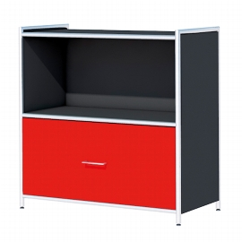 Kerkmann 7990 Sideboard Artline 2OH (BxTxH) 800 x 380 x 780 mm 1 Schublade Anthrazit/Rot