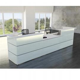 Kompletttheke Atlantis 1 (BxT) 4300x920mm - 2x 3288, 1x 3394 Weiß/Glas