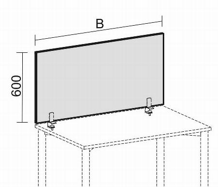 Geramöbel Trennwände Pro Tischaufsatz SWS410806 (BxTxH) 800x41x600mm Rot