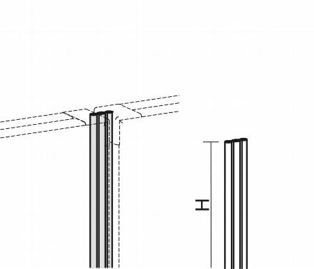 Geramöbel Linearverbindung für Trennwände Eco ZBS27L12 Aluminium Höhe 1200mm