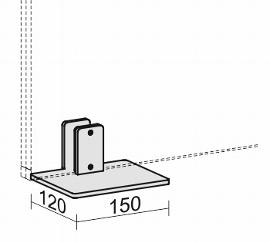 Geramöbel Tischfuß für Trennwände Eco ZBS27S02 Aluminium (BxT) 130x360mm