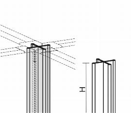 Geramöbel Winkelverbindung 4x 90° für Trennwände Eco ZBS27V06 Aluminium Höhe 600mm