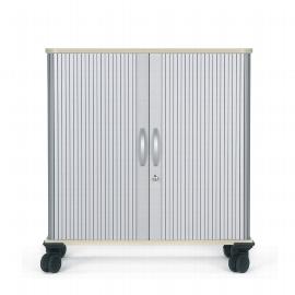Geramöbel mobiler Querrollladenschrank 04Q208 verschließbar 2OH (HxBxT) 86.5x80x40cm Silber/Ahorn