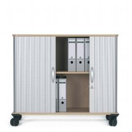 Geramöbel mobiler Querrollladenschrank 04Q210 verschließbar 2OH (HxBxT) 86.5x100x40cm Silber/Ahorn