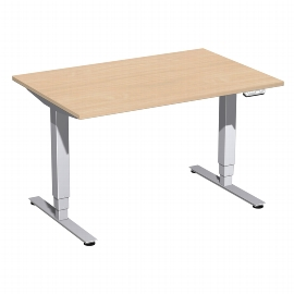Geramöbel 08E1608 Elektro-Hubtisch Elektro Pro+ (BxTxH) 1600x800x625-1285mm Ahorn/Silber