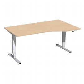 Geramöbel 08E1611 Elektro-Hubtisch Pro+ Freiform rechts (BxTxH) 1600x1000x625-1285mm Buche/Silber