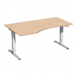 Geramöbel 08E1612 Elektro-Hubtisch Pro+ Freiform links (BxTxH) 1600x1000x625-1285mm Buche/Silber