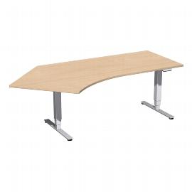Geramöbel 08E1615 Elektro-Hubtisch Pro+ Winkel 135° links (BxTxH) 2166x1130x625-1285mm Buche/Silber