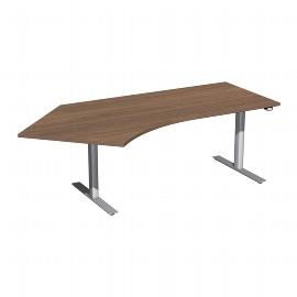 Geramöbel 08F1615 Elektro-Hubtisch Winkel 135° links (BxTxH) 2166x1130x650-1250mm Nussbaum/Silber