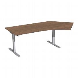 Geramöbel 08F1616 Elektro-Hubtisch Winkel 135° rechts (BxTxH) 2166x1130x650-1250mm Nussbaum/Silber