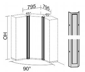 Geramöbel Eckverbinder 45° Pro 5OH (1920mm) 10EV545 Blechelemente mit Holzblende Ahorn/Schwarz