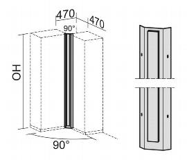 Geramöbel Eckverbinder 90° Pro 5OH (1920mm) 10EV590 Blechelemente mit Holzblende Ahorn/Schwarz