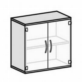 Geramöbel Glastürenschrank Pro 2OH 10G208 Glas satiniert nicht abschließbar (BxTxH) 800x425x768mm Ahorn
