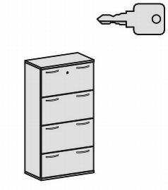 Geramöbel Hängeregistraturschrank Pro 10HR408 2-bahnig 4 Schübe (BxTxH) 800x425x1536mm Ahorn/Ahorn