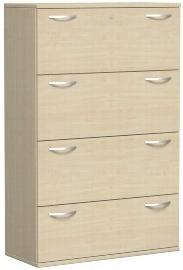 Geramöbel Hängeregistraturschrank Pro 10HR410 2-bahnig 4 Schübe (BxTxH) 1000x425x1536mm Ahorn/Ahorn