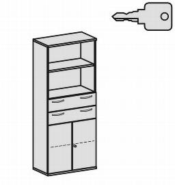 Geramöbel Modulschrank Pro 10M50816 Kombischrank 5OH (BxTxH) 800x425x1920mm Ahorn/Ahorn