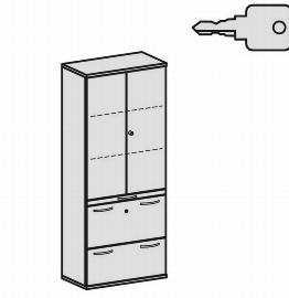 Geramöbel Modulschrank Pro 10M50822 Kombischrank 5OH (BxTxH) 800x425x1920mm Ahorn/Ahorn