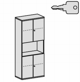 Geramöbel Modulschrank Pro 10M50832 Kombischrank 5OH (BxTxH) 800x425x1920mm Ahorn/Ahorn