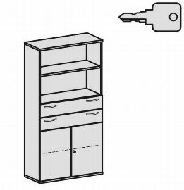 Geramöbel Modulschrank Pro 10M51016 Kombischrank 5OH (BxTxH) 1000x425x1920mm Ahorn/Ahorn