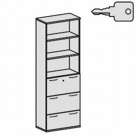 Geramöbel Modulschrank Pro 10M60830 Kombischrank 6OH (BxTxH) 800x425x2304mm Ahorn/Ahorn