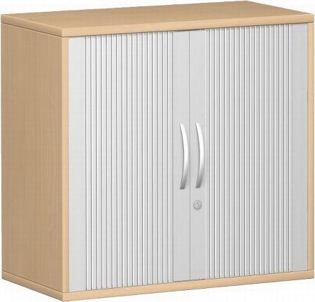 Geramöbel Querrollladenschrank Pro 10Q212 mit 1 Dekor-Einlegeboden (BxTxH) 1200x425x768 Silber/Nussbaum