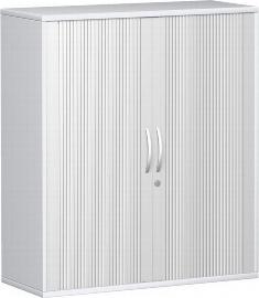Geramöbel Querrollladenschrank Pro 10Q308 mit 2 Dekor-Ablageböden (BxTxH) 800x425x1152mm Silber/Ahorn