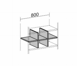 Geramöbel Regalausfachung 10RA08 für 1 Ordnerhöhe Korpusbreite 800mm Ahorn