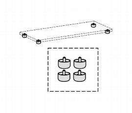 Geramöbel Standfüße Serie Pro 10SF4 justierbar für Schrankbreite bis 1000mm Pack 4 Stück Schwarz