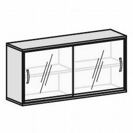 Geramöbel Schiebetürenschrank 2OH Serie Pro 10SG216 Glas-Schiebetüren 2 Böden (BxTxH) 1600x425x768mm Ahorn