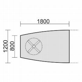 Geramöbel 13TFE1812 Konferenztisch Tellerfuß Fassform Endelement 1 Fuß feste Höhe (BxTxH) 1800x1200x720mm Ahorn