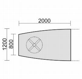 Geramöbel 13TFE2012 Konferenztisch Tellerfuß Fassform Endelement 1 Fuß feste Höhe (BxTxH) 2000x1200x720mm Ahorn