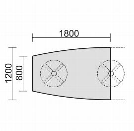 Geramöbel 13TFN1812 Konferenztisch Tellerfuß Fassform Endelement 2 Füße feste Höhe (BxTxH) 1800x1200x720mm Ahorn