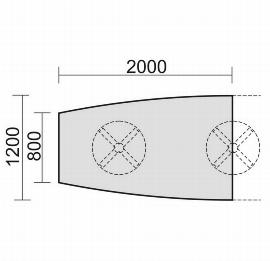 Geramöbel 13TFN2012 Konferenztisch Tellerfuß Fassform Endelement 2 Füße feste Höhe (BxTxH) 2000x1200x720mm Ahorn