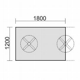 Geramöbel 13TN1812 Konferenztisch Endelement rechteckig 2 Tellerfüße feste Höhe (BxTxH) 1800x1200x720mm Ahorn