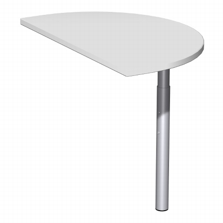 Geramöbel 520006 Anbautisch halbrund 4-Fuß ECO feste Höhe 72cm (BxT) 50x80cm Ahorn/Lichtgrau