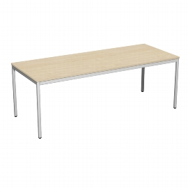 Geramöbel 520147 Schreibtisch 4-Fuß ECO feste Höhe 72cm (BxT) 200x80cm Ahorn/Lichtgrau