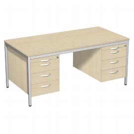 Geramöbel 522116 Schreibtisch 4-Fuß ECO mit 2 Hängecontainern feste Höhe (BxTxH) 160x80x72cm Ahorn/Lichtgrau