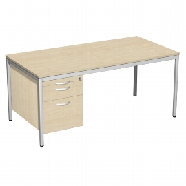 Geramöbel 522117 Schreibtisch 4-Fuß ECO mit Hängecontainer feste Höhe (BxTxH) 160x80x72cm Ahorn/Lichtgrau
