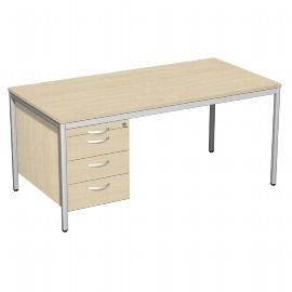 Geramöbel 522118 Schreibtisch 4-Fuß ECO mit Hängecontainer feste Höhe (BxTxH) 160x80x72cm Ahorn/Lichtgrau