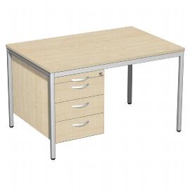 Geramöbel 522120 Schreibtisch 4-Fuß ECO mit Hängecontainer feste Höhe (BxTxH) 120x80x72cm Ahorn/Lichtgrau