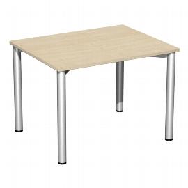 Geramöbel 550144 Schreibtisch 4-Fuß Flex feste Höhe (BxTxH) 100x80x72mm Ahorn/Silber