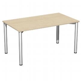 Geramöbel 550145 Schreibtisch 4-Fuß Flex feste Höhe (BxTxH) 140x80x72mm Ahorn/Silber
