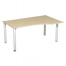 Geramöbel PC-Schreibtisch 550311 4-Fuß Flex PC rechts feste Höhe (BxTxH) 160x100x72cm Ahorn/Silber