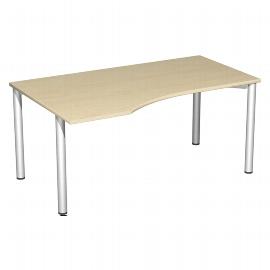 Geramöbel PC-Schreibtisch 550312 4-Fuß Flex PC links feste Höhe (BxTxH) 160x100x72cm Ahorn/Silber