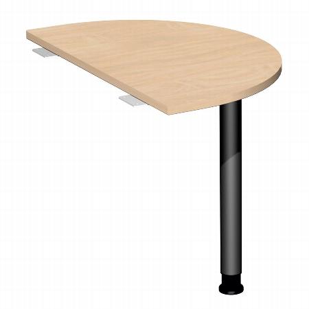Geramöbel 555006 Anbautisch Halbrund 4-Fuß Flex (BxT) 500x800mm höhenverstellbar 68-80cm Ahorn/Silber
